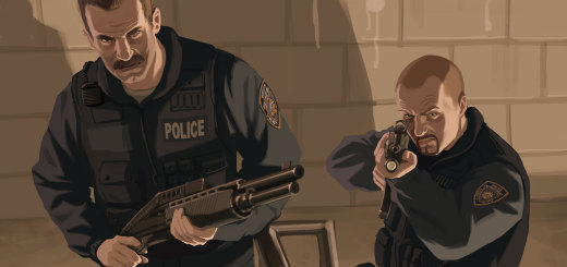 scene from Grand Theft Auto video game series. police officers with weapons out in a stairwell